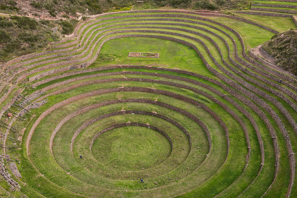 South America; Peru; Cuzco; Inca archaeological site; Moray; terasses;