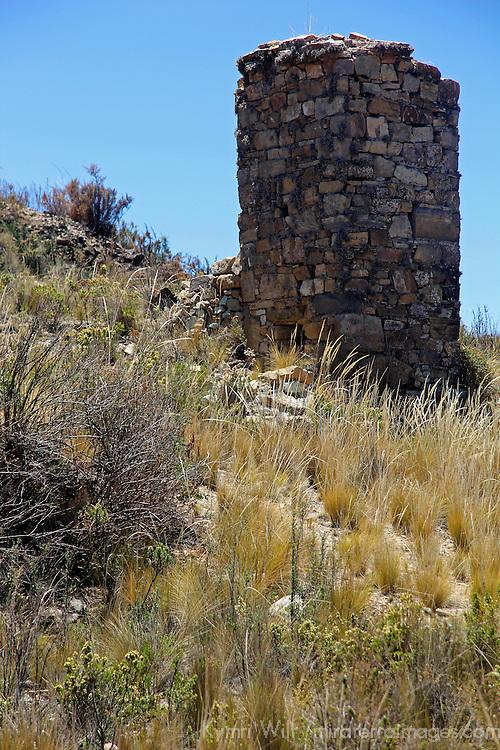 South America, Bolivia, Kala Uta Island. Chullpa, or funerary tower, of Lake Titicaca.