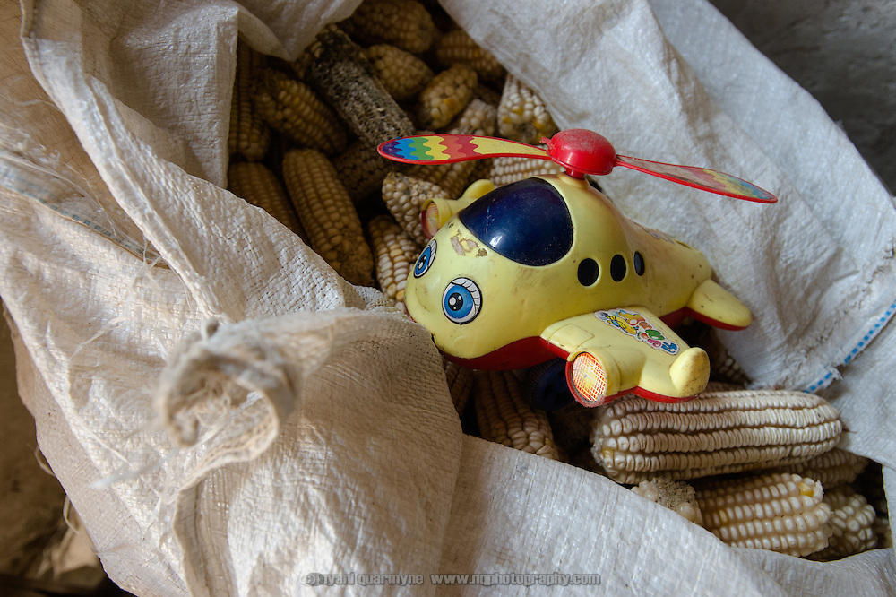 A child's toy aeroplane on top of a sack of corn at a homestead in eastern Uganda on 2 August 2014.
