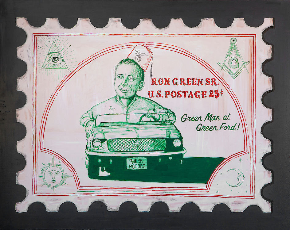 McMenamins painting by Casey Doherty capturing some of the interests of stamp-collecting car dealer Ron Green.