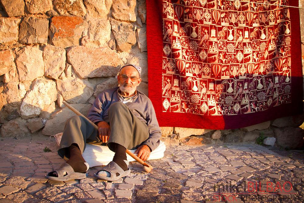 Carpet seller. Uchisar. Cappadocia, Turkey.