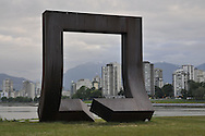 "sculpture ""Gateway To The Northwest Passage"" by artist Alan Chung Hung in Kits Point, Vanier Park, Vancouver, British Columbia , Canada"