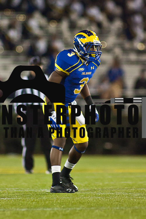 11/12/11 Newark DE: Delaware Cornerback Tim Breaker #3 during a Week 10 NCAA football game...Delaware defeated Richmond 24-10 in front of 18, 808 fans at Delaware Stadium on Saturday Nov. 12, 2011 in Newark Delaware...Special to The News Journal/SAQUAN STIMPSON