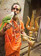 Sadhu, performing blessing for groups of Hindu families (and tourists with cameras & tips!) Ganges, Varanasi