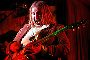 Seth Yacavonne plays guitar at Club Metronome in Burlington, Vermont on Halloween