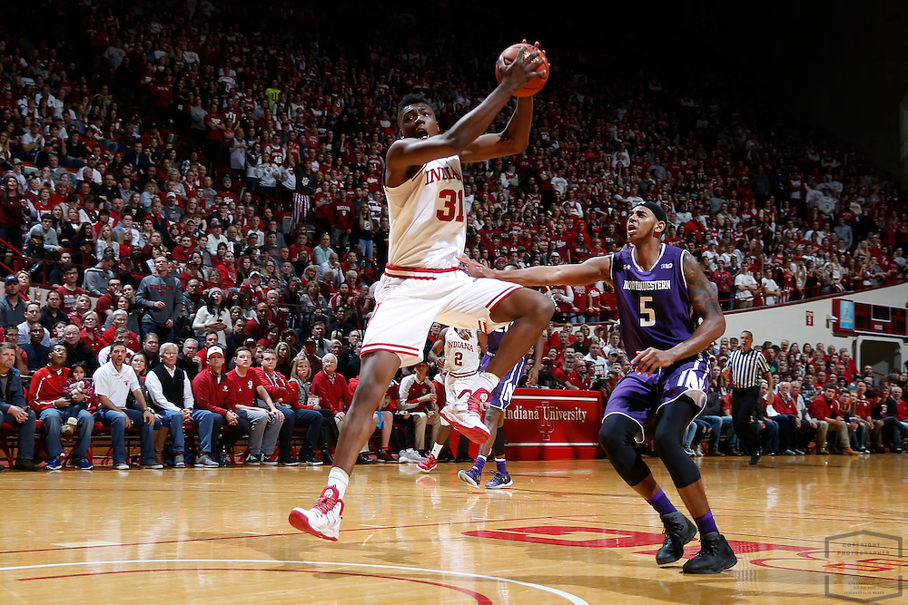 Indiana center Thomas Bryant (31) in action as Northwestern played Indiana in an NCCA college basketball game in Bloomington, Ind., Saturday, Feb. 25, 2017. (AJ Mast)