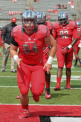 Sept 8, 2012; Piscataway, NJ, USA; Rutgers Scarlet Knights defensive tackle Scott Vallone (94) during the pre-game warmup for their game against Howard at High Point Solutions Stadium.