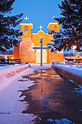A winter scene at San Francisco de Asis Church in Ranchos de Taos, New Mexico.