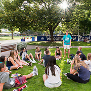 The incoming Gonzaga University class of 2020 meets with their small groups for the first time on August 26th, 2016. (Photo by Edward Bell)