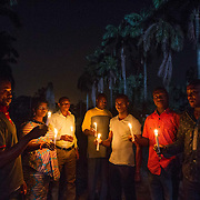 Ogoni activists prepare for a candle light vigil in Port Harcourt, Niger delta, marking 20 years since the Nigerian military government executed human rights activist Ken Saro-Wiwa and eight other Ogoni leaders. Nov. 9, 2015