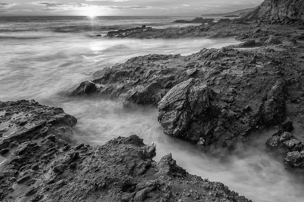 Victoria Beach Crack - Sunset - Laguna Beach CA - Black & White