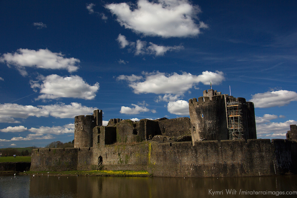 Europe, United Kingdom, Wales, Caerphilly. Caerphilly Castle and moat, the largest water defence system in Wales.