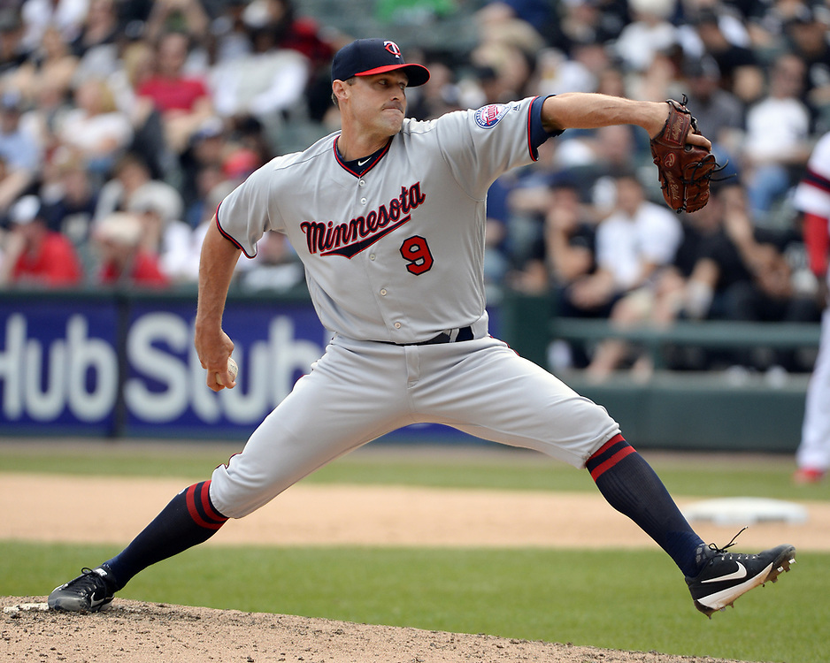 CHICAGO - APRIL 09:  Matt Beisle #9 of the Minnesota Twins pitches against the Chicago White Sox on April 9, 2017 at Guaranteed Rate Field in Chicago, Illinois.  (Photo by Ron Vesely)   Subject:  Matt Beisle
