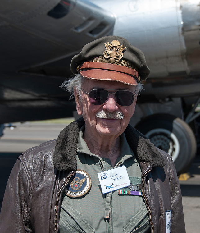 Jim White flew 18 bombing missions over Germany on the B-17 flying fortress in 1944 - 1945. It took huge risks, great skills, and plenty of luck to come back alive. Torrance Airport, California.