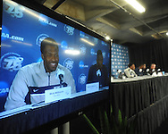 Ole Miss' Nick Williams (20) speaks at a press conference at the NCAA Tournament at the Sprint Center in Kansas City, Mo. on Saturday, March 23, 2013. Ole Miss plays La Salle on Sunday.