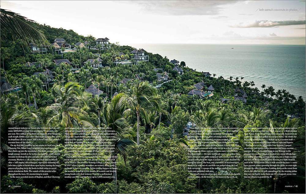A cover story on coconuts in Koh Samui for bangkok Airways' Fah Thai magazine.