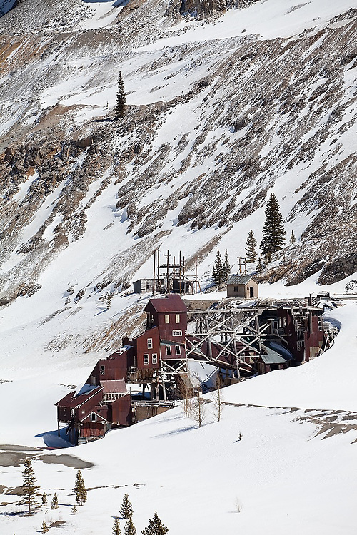 The ruins of the Madonna Mine near Monarch Pass, Colorado. The ore contained silver, lead and iron, and limestone was quarried from the slopes above.