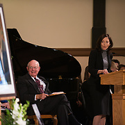 Judge Justin Quackenbush and Sen. Maria Cantwell, D-Wash., during the memorial Nov. 1, 2013 for former House Speaker Thomas Foley at St. Aloysius Church in Spokane, Wash. (Photo courtesy of Gonzaga University.)