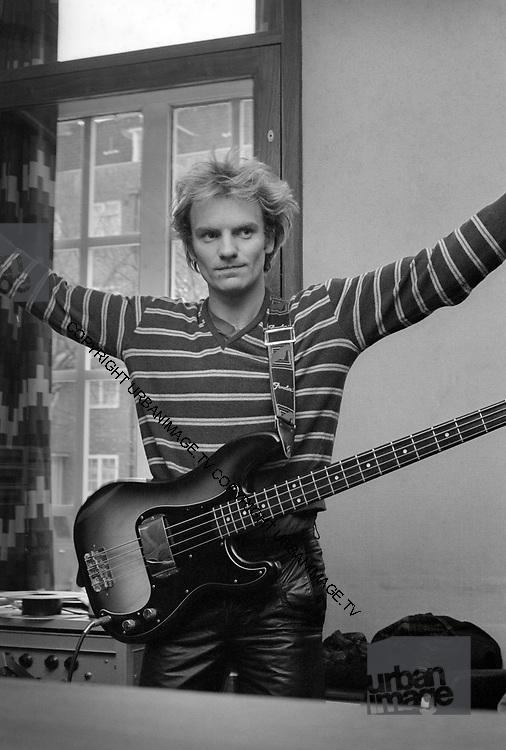 Sting backstage at soundcheck - The Police - London 1979