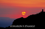 GRAND CANYON SUNRISE 14896<br /> Red-Orange Sky and Clouds, Desert View Tower Silhouette