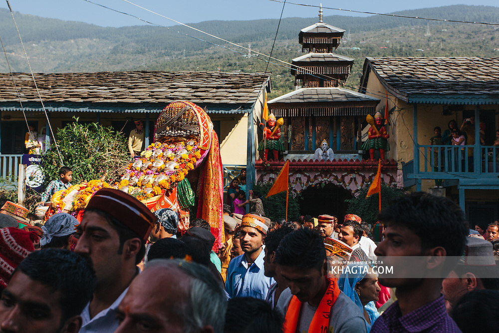 A kullu Deity leaves Raghunath Temple for the main event at Dhalpur ground. Kullu Dussehra is the Dussehra festival observed in the month of October in Himachal Pradesh state in northern India. It is celebrated in the Dhalpur maidan in the Kullu valley. Dussehra at Kullu commences on the tenth day of the rising moon, i.e. on 'Vijay Dashmi' day itself and continues for seven days. Its history dates back to the 17th century when local King Jagat Singh installed an idol of Raghunath on his throne as a mark of penance. After this, god Raghunath was declared as the ruling deity of the Valley.