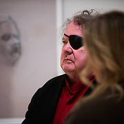 Dale Chihuly visits Gonzaga's campus in time for the Senior Art Exhibition. <br /> Photo by Rajah Bose