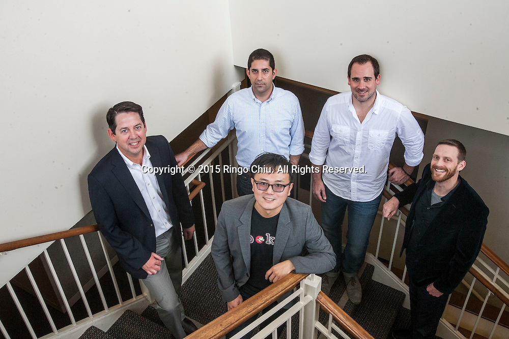 Back left to right,  Eric Duyshart of City of Pasadena, Alex Maleki of Idealab, Brian Nolan of Sellbrite, Grant Hosford of Codespark.org and Harrison Tang (front) of Spokeo. (Photo by Ringo Chiu/PHOTOFORMULA.com)