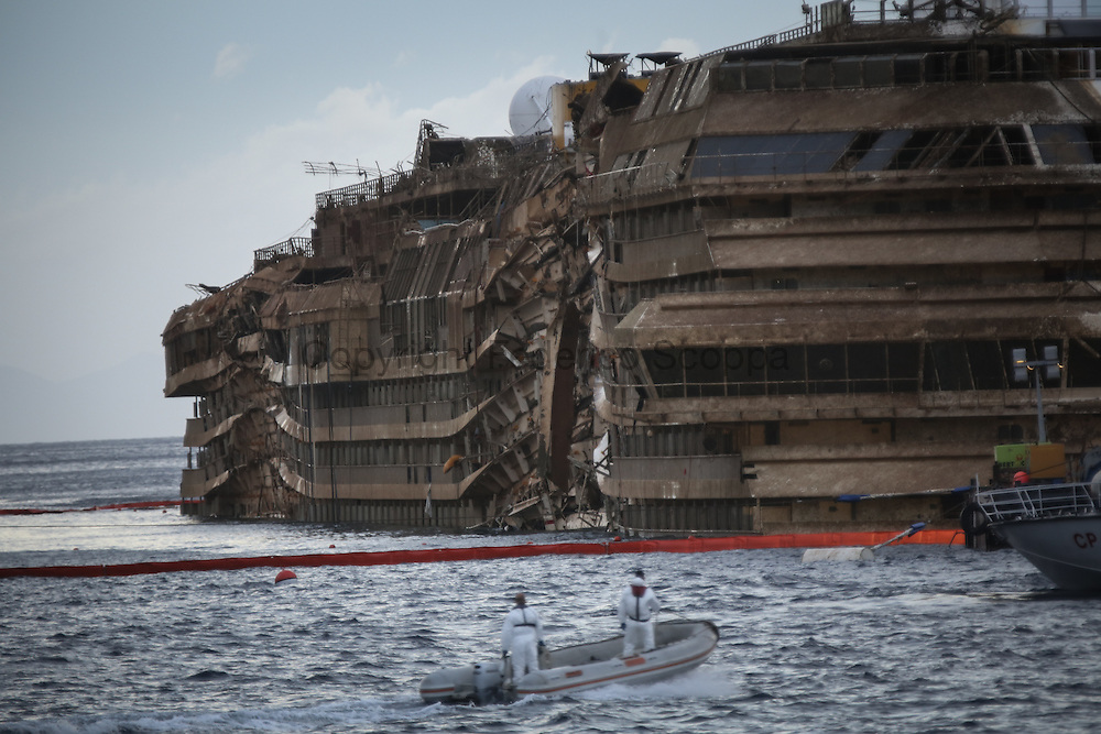 The Costa Concordia wreck in the up right position
