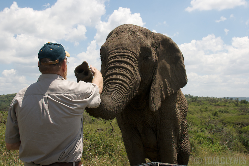 "Maverick conservationist and ""elephant whisperer"" Lawrence Anthony at his Thula Thula game reserve in Zululand, South Africa"