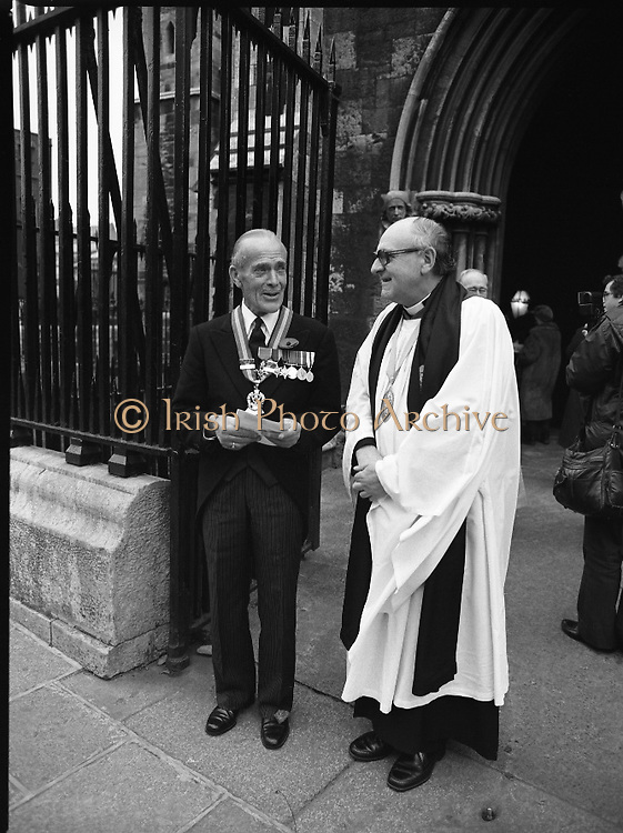 Remembrance Day Service.1983.13.11.1983.11.13.1983.13th November 1983..A remembrance service was held in St Patrick's Cathederal, Dublin,(Poppy Day) to commerate the Irish Fallen who died  whilst on service with the British Army in the two World Wars..Photograph of the Dean of St Patrick's Cathederal,  Rev Griffin and Mr Reginald Irvine George,O.B.E.,Area Chairman ,Royal British Legion as they wait for dignitaries to arrive.