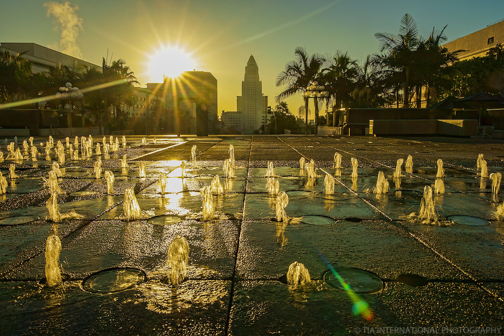 Los Angeles City Hall from Dorothy Chandler Pavilion @ Sunrise