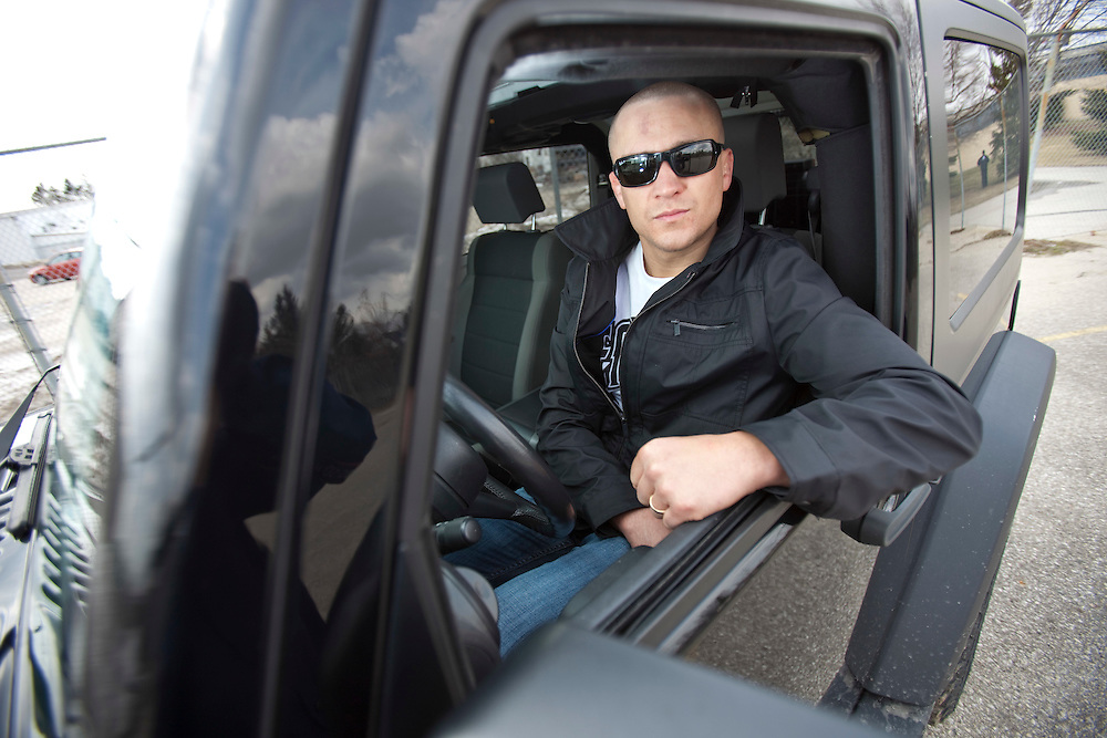 London, Ontario ---11-03-18--- UFC fighter Mark Hominick sits in his his Jeep Wrangler outside of his training gym, Adrenaline Training Center, in London, Ontario, March 18, 2011.<br /> GEOFF ROBINS The Globe and Mail