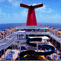 From the deck of the Carnival cruise ship MS Fantasy. Extreme wide angle panoramic view