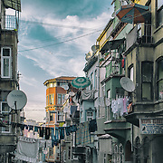15/10/2013 - Istanbul - Tarlabasi area - Satellite dishes are all over as it is the most economical way to capture foreign TV stations.