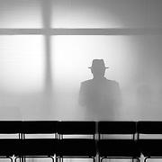 Germany - Deutschland - Hanns Zischler, Schatten mit HUT; Haus der Berliner Festspiele Berlin, 26.08.2015; © Christian Jungeblodt