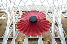OCT 09 2014 Giant Poppy installed at Kings Cross Station