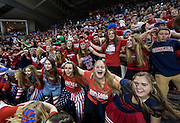 """Gonzaga fans come together during """"Zombie Nation"""" prior to the men's basketball game against Memphis at the McCarthey Athletic Center in Spokane, WA, Saturday, Jan. 31, 2015. (Ryan Sullivan/Gonzaga University)"""