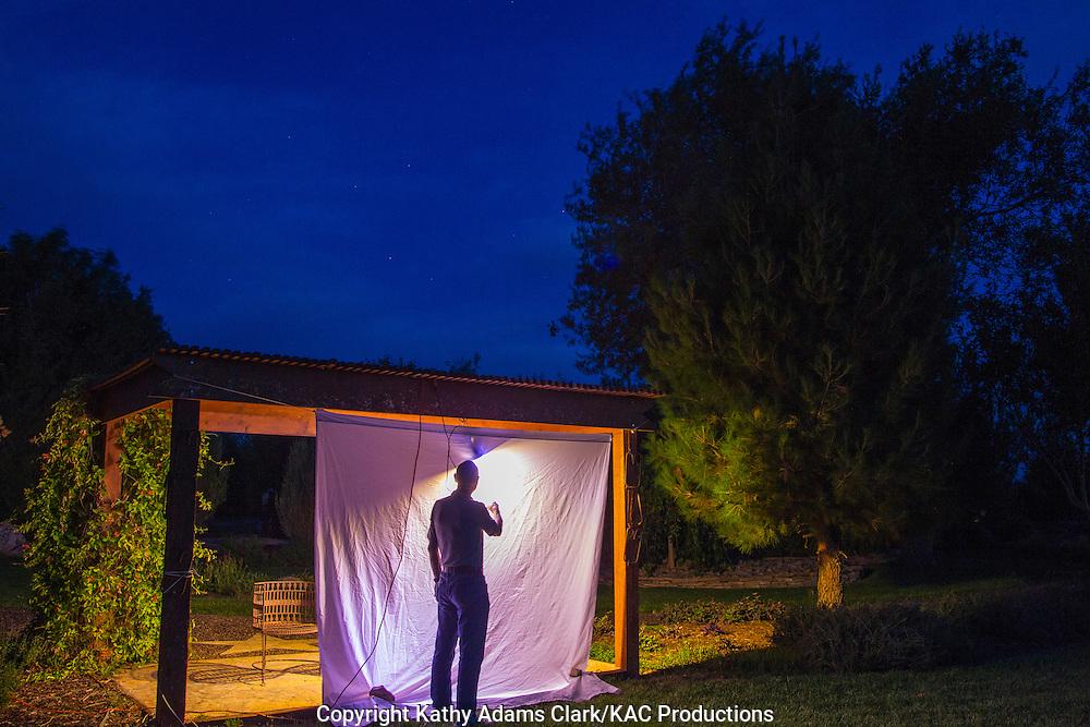 blacklighting for moths, Marathon, Texas, west Texas, using a blacklight to attract moths.