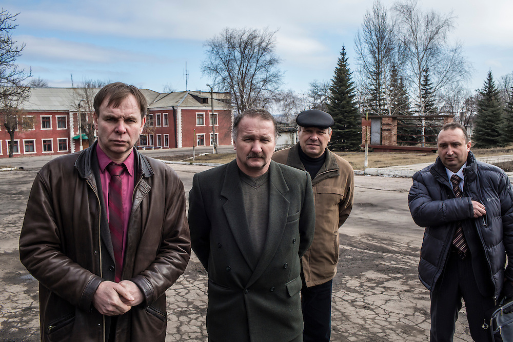 Igor Novoselov, left, the mine manager, and other executives at the Zolote Coal Mine on Tuesday, February 9, 2016 in Zolote, Ukraine. The mine is one of the oldest in the region, having first opened in 1905.