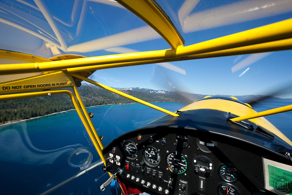 """Seaplane over Lake Tahoe 2"" - Aerial photograph of Lake Tahoe and Emerald Bay. Shot from an amphibious seaplane with the door removed."