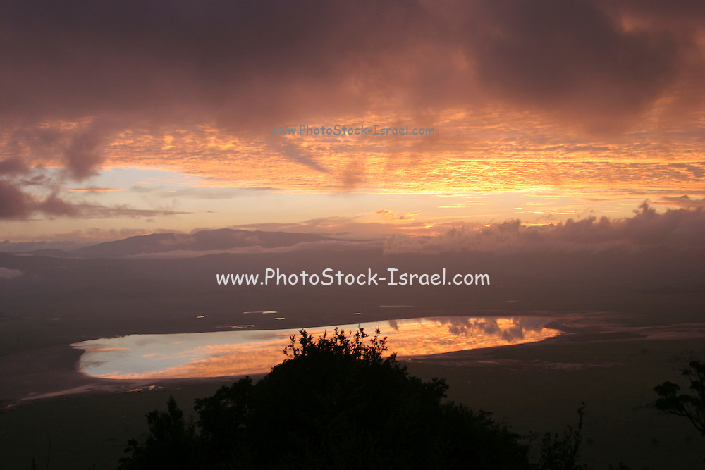 Africa, Tanzania, sunset over Lake Manyara National Park