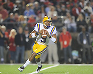 LSU quarterback Jordan Jefferson (9) passes against Ole Miss at Vaught-Hemingway Stadium in Oxford, Miss. on Saturday, November 19, 2011.