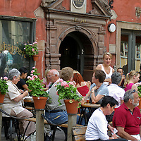 Europe, Sweden, Stockholm. Outdoor cafe of Gamla Stan.