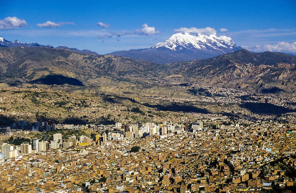 South America, Bolivia, La Paz, Illamani (elev. 6439m) in background