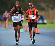 CAPE TOWN, SOUTH AFRICA - OCTOBER 10: Lebogang Shange (250) of CGA in the mens 20km during the South African Race Walking Championship at Youngsfield Military Base on October 10, 2015 in Cape Town, South Africa. (Photo by Roger Sedres/ImageSA)