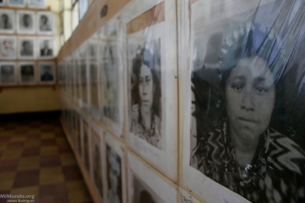 The intimate Rabinal Achi Community Museum holds a permanent photo exhibit of the wartime victims and other artifacts related to the genocidal campaigns carried out against the Maya Achi people of Rabinal. Rabinal, Baja Verapaz, Guatemala. July 27, 2007.