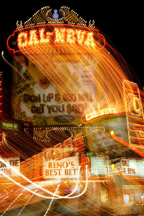 """Cal-Neva, Reno""  This Cal-Neva sign was photographed in Downtown Reno, Nevada. The effect was obtained in camera by long exposure mixed with intentional camera movement."