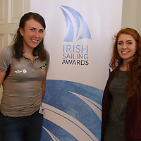 REPRO FREE***PRESS RELEASE NO REPRODUCTION FEE***<br /> Irish Sailing Awards, Royal College of Surgeons, Stephen's Green, Dublin 4/2/2016<br /> National Yacht Club sailor Liam Shanahan was named the 2015 Irish Sailor of the Year today at the Irish Sailing Awards in Dublin - Shanahan had a remarkable year, including victory in the Dun Laoghaire to Dingle race in June on his boat Ruth with two miles to spare.<br /> Kilkenny&rsquo;s Doug Elmes and Malahide&rsquo;s Colin O&rsquo;Sullivan jointly took home the Irish Sailing Association (ISA) Youth Sailor of the Year award. The Howth Yacht Club sailors were hotly tipped following their recent Bronze medal success at the 2015 Youth World Championships in Malaysia, where they took Ireland&rsquo;s first doublehanded youth worlds medal in 19 years.<br /> The Mitsubishi Motors Sailing Club of the Year award was presented to the Royal Irish Yacht Club in honour of their success at local, national and international level.<br /> Mullingar Sailing Club took home the ISA Training Centre of the Year award, having been nominated as winners of the western-region Training Centre of the Year.<br /> Pictured is Annalise Murphy and Aisling Keller, Youth Sailor of the Year nominee<br /> Mandatory Credit &copy;INPHO/Cathal Noonan