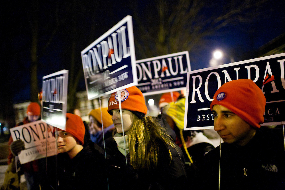 Supporters of Republican presidential candidate Ron Paul rally outside the site of the Republican presidential debate at Drake University on Saturday, December 10, 2011 in Des Moines, IA.