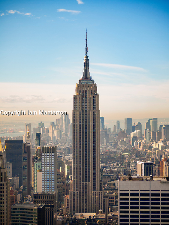 View of Empire State Building from Rockefeller Centre in New York City, USA